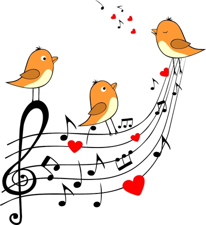 song bird: love score with three orange birds