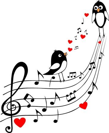 partition musique: j'aime score avec deux oiseaux noirs Banque d'images