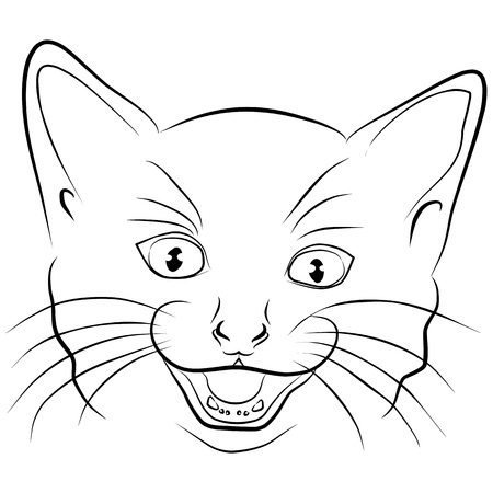 cat head isolated - freehand, vector illustration Vector