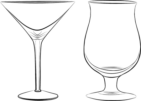 two glass of drink - freehand, vector illustration Stock Vector - 12917538