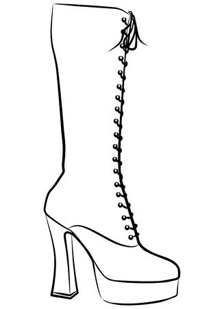 woman boot - freehand, vector illustration Vector