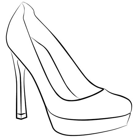 zapato de la mujer - a mano alzada, ilustraci�n vectorial