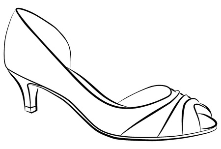 simple woman shoe - freehand, vector illustration