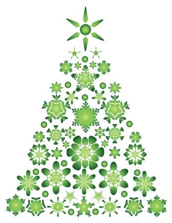 green christmas tree - vector illustration Illustration