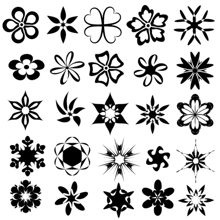 flower line: set of 25 abstract elements for pattern design vector