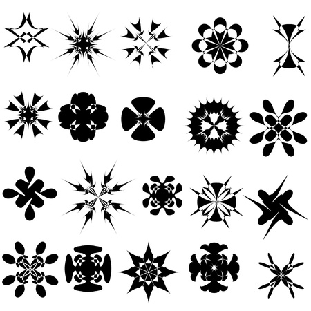 set of 20 abstract elements for pattern design vector Illustration