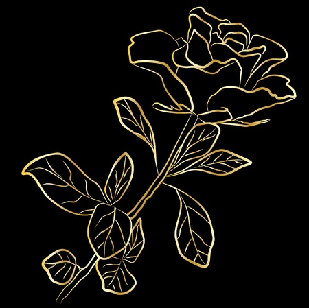 outline wedding: golden rose - freehand, vector illustration