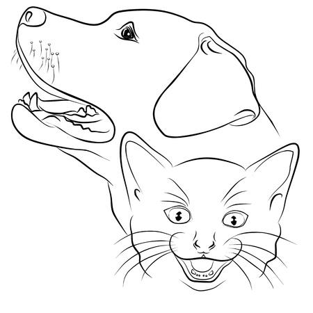 veterinary symbol: cat and dog - freehand on white background, vector illustration