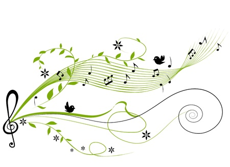 music notes: musical green background - vector illustration Illustration