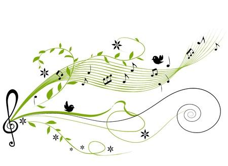 notes musicales: musicale sur fond vert - illustration vectorielle Illustration