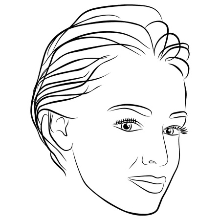 short hair: yang woman face, short hair - freehand on a white background, vector Illustration