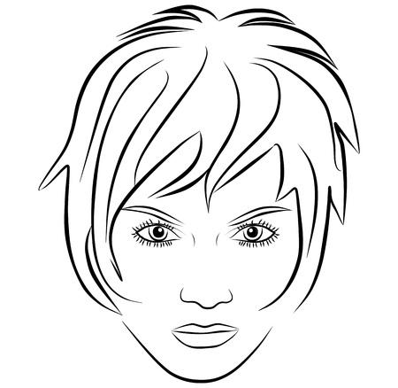 hair short: volto di donna yang, capelli corti - a mano libera su uno sfondo bianco, vettore Vettoriali