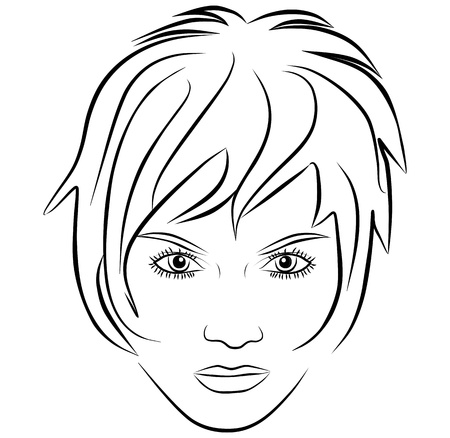femininity: yang woman face, short hair - freehand on a white background, vector Illustration