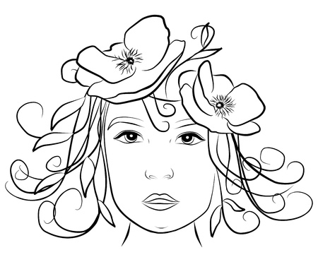 young woman face with poppies in her hair- freehand on white background, vector Vector