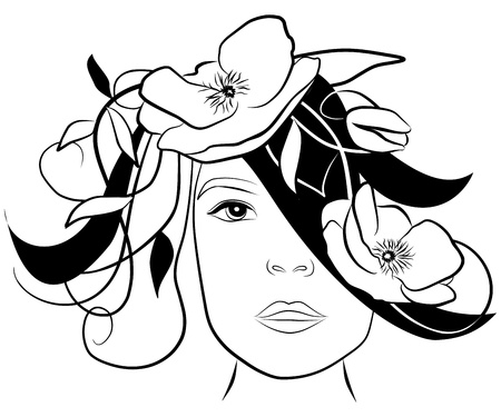 young woman face with poppies in her hair- freehand on white background, vector Stock Vector - 13046403