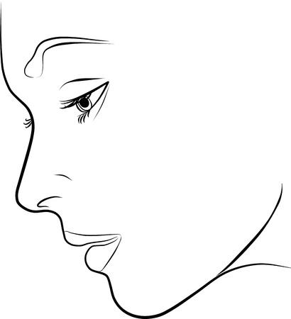 visage femme profil: belle jeune femme profil - à main levée sur un fond blanc, illustration vectorielle Illustration