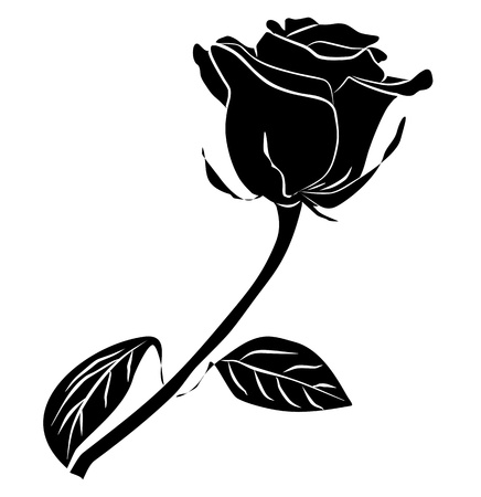 rose noire silhouette - à main levée sur un fond blanc, illustration vectorielle
