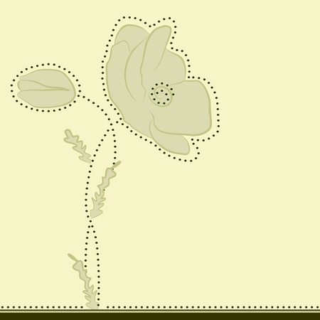 Floral background with poppy flowers, vector illustration Vector