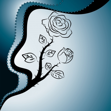 thorn: abstract blue background with roses, vector illustration