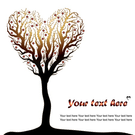 golden love tree on white background - vector illustration Vector
