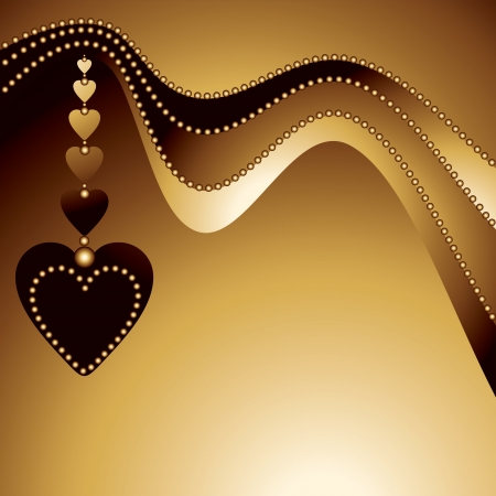 abstract gold background with hearts, vector illustration Vector