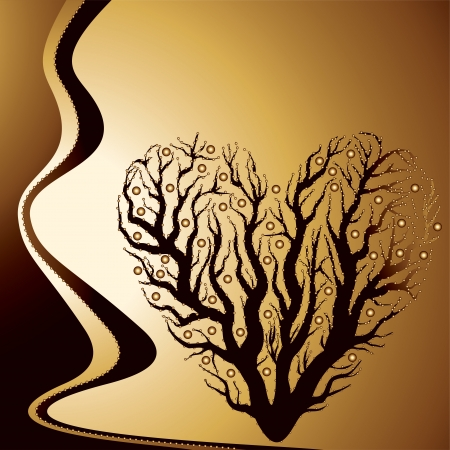 trees with thorns: abstract golden love tree - vector illustration