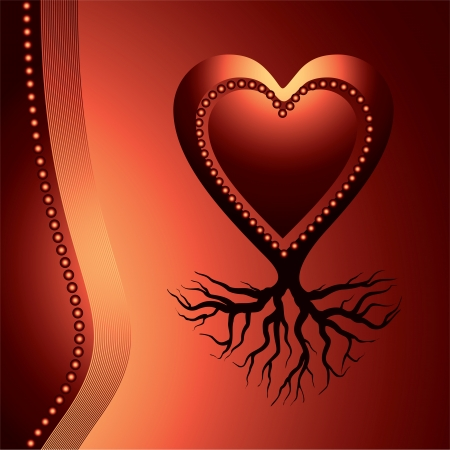 stability: red love heart with root , symbol of stability - vector illustration