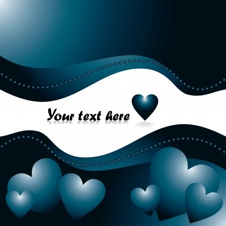 sentimientos y emociones: Tarjeta de amor con corazones azules - ilustraci�n vectorial