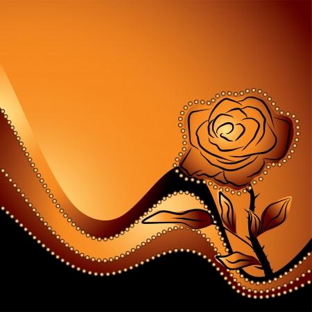 rosas naranjas: rosas silueta, s�mbolo de la belleza y la fragilidad de un fondo naranja - ilustraci�n vectorial amor