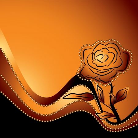 orange rose: roses silhouette , symbol of beauty and fragility on a orange background - love vector illustration Illustration