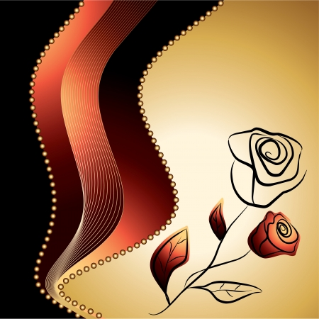 roses silhouette , symbol of beauty and fragility on a gold and red background - love vector illustration Stock Vector - 14372255