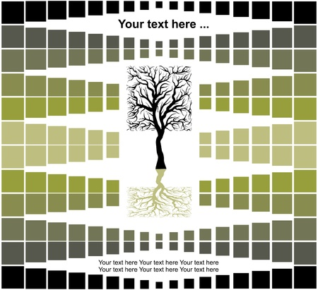 abstract background with square tree shape - eco concept, vector illustration Stock Vector - 14372237
