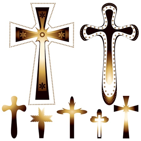 cruz religiosa: conjunto de siete cruces cristianas - ilustración vectorial