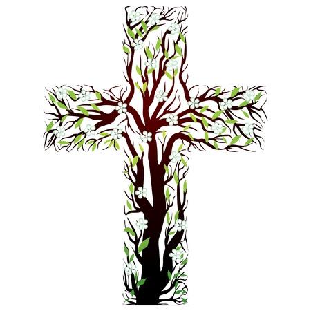 pasqua cristiana: floreale croce cristiana, forma di albero su uno sfondo bianco - illustrazione vettoriale Vettoriali