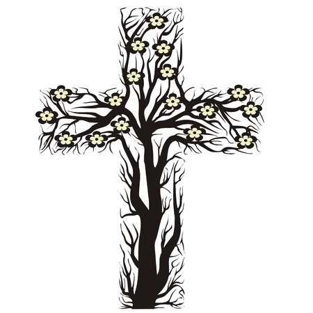 resurrected: floral christian cross, tree shape on a white background - vector illustration