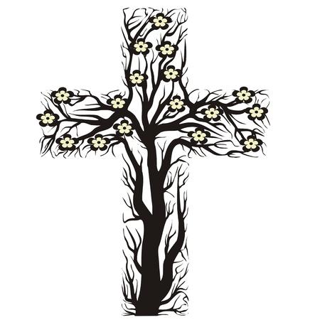 resurrecci�n: flores cruz cristiana, la forma del �rbol sobre un fondo blanco - ilustraci�n vectorial