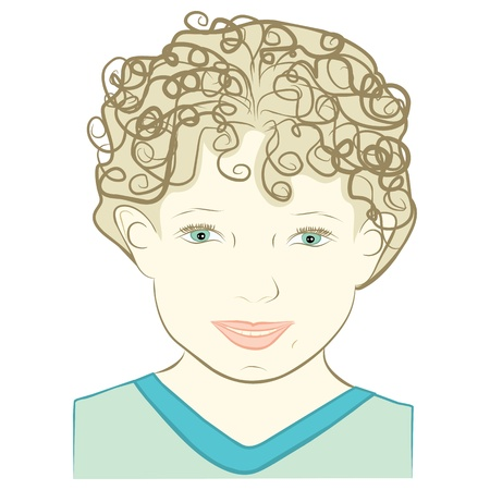 contentment: young woman with smiling face expression -  illustration