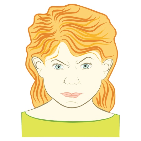 young woman with angry face expression -  illustration