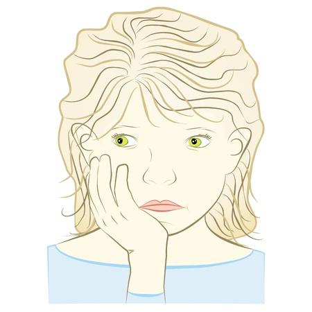 mujer joven preocupada concepto de miedo, aislada en el fondo blanco - ilustración Ilustración de vector
