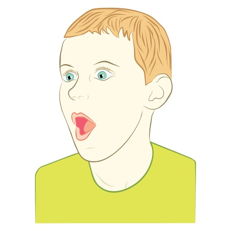 young boy with surprised face expression