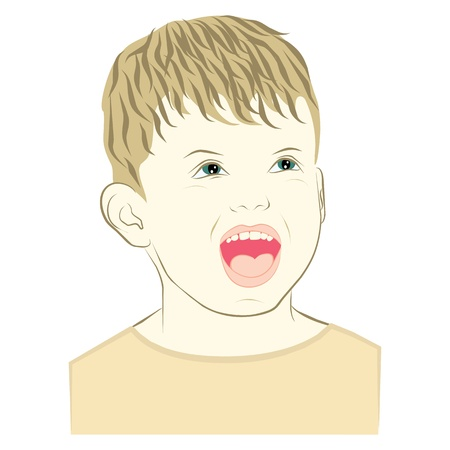 young boy with joyful face expression Illustration