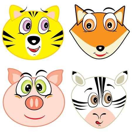 zebra heads: cute cartoon animal head icons