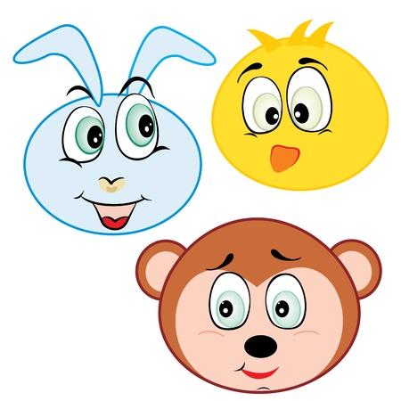 clip art draw: cute cartoon animal head icons