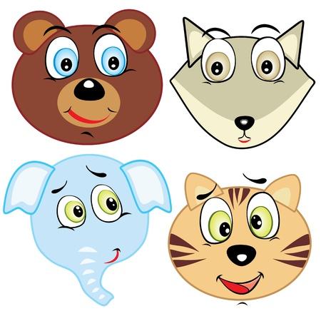zoo youth: cute cartoon animal head icons