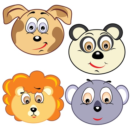 cute cartoon animal head icons Vector