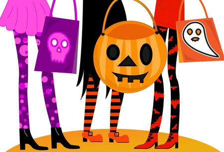 Halloween Trick or Treaters Illustration