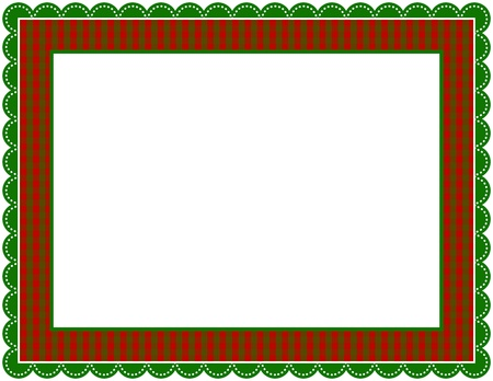scalloped: Christmas Gingham Frame Illustration