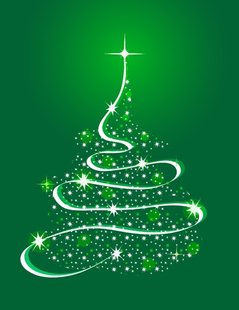 Christmas Tree with Stars Vector