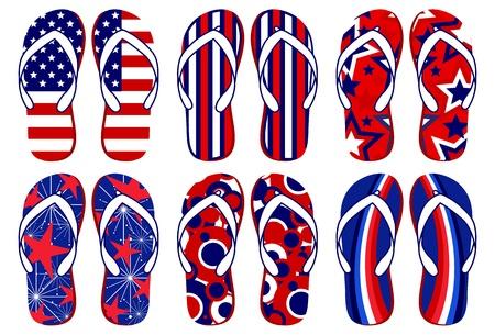 American Flag Flip Flops Stock Vector - 9919657