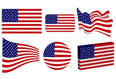 미국 국기 세트 일러스트